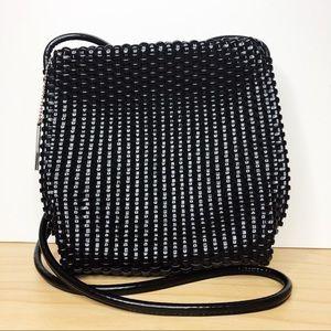 Nine West Boho Black Basket Weave Crossbody Bag